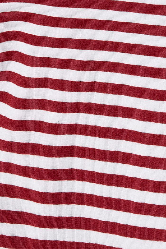 Maglia a righe con collo a listino, 100% biologico cotone, DARK RED, detail image number 4
