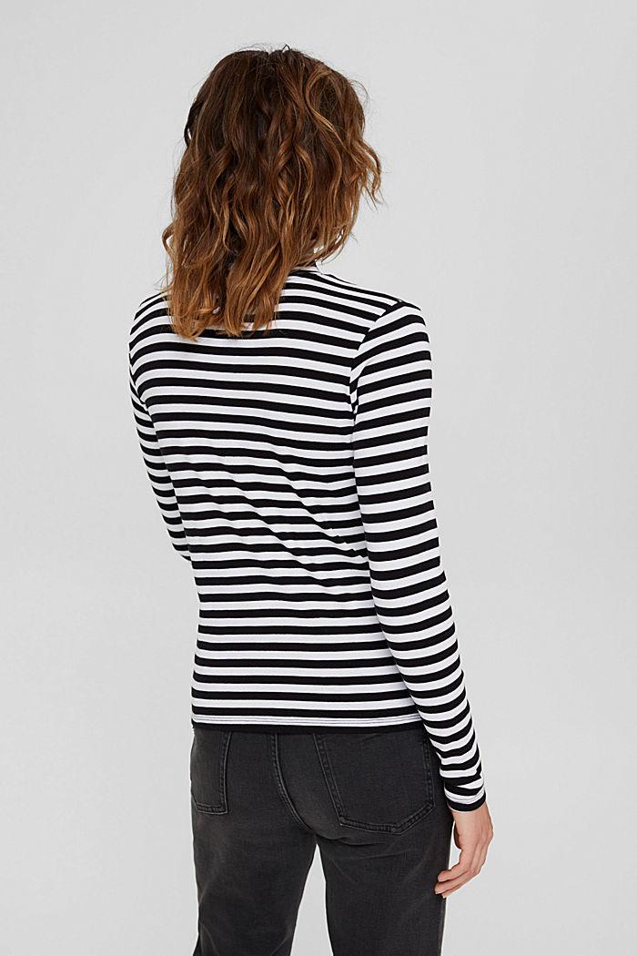 T-shirt rayé à manches longues, 100% coton biologique, BLACK, detail image number 3