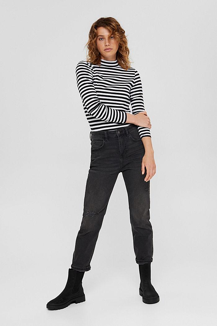 T-shirt rayé à manches longues, 100% coton biologique, BLACK, detail image number 1