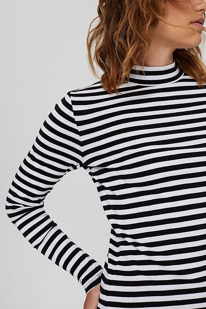 T-shirt rayé à manches longues, 100% coton biologique, BLACK, detail image number 2