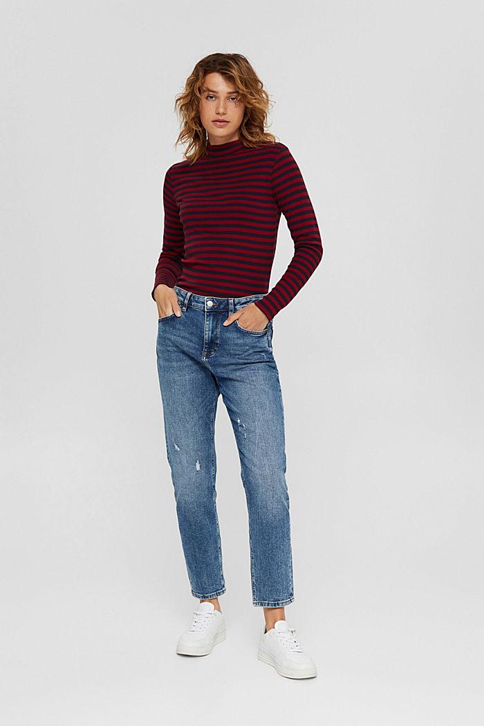 Camiseta de manga larga a rayas, 100 % algodón ecológico, NAVY, detail image number 1