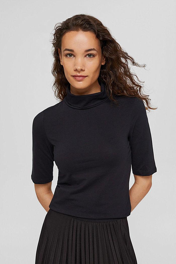 T-shirt con collo dolcevita, cotone biologico, BLACK, detail image number 0