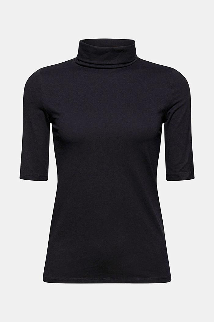 T-shirt con collo dolcevita, cotone biologico, BLACK, detail image number 5