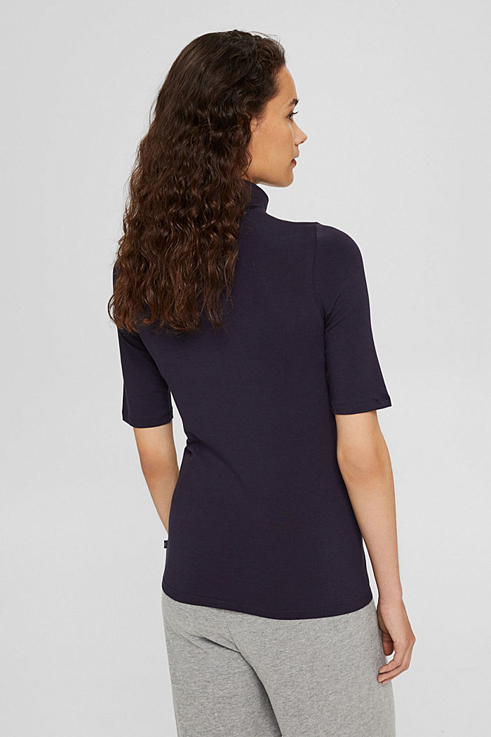 T-shirt con collo dolcevita, cotone biologico, NAVY, detail image number 3