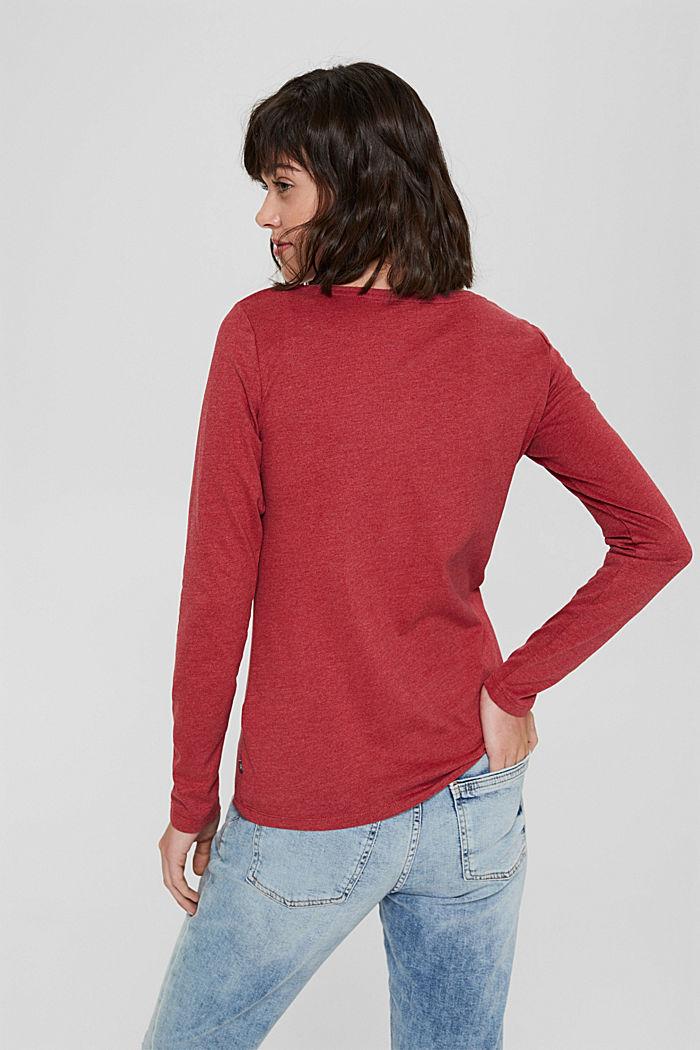 Bluzka z długim rękawem i okrągłym dekoltem z mieszanki bawełny ekologicznej, DARK RED, detail image number 3