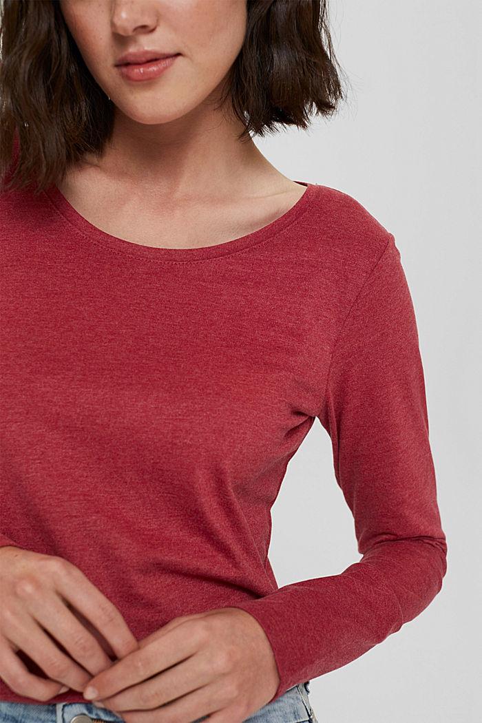 Bluzka z długim rękawem i okrągłym dekoltem z mieszanki bawełny ekologicznej, DARK RED, detail image number 2