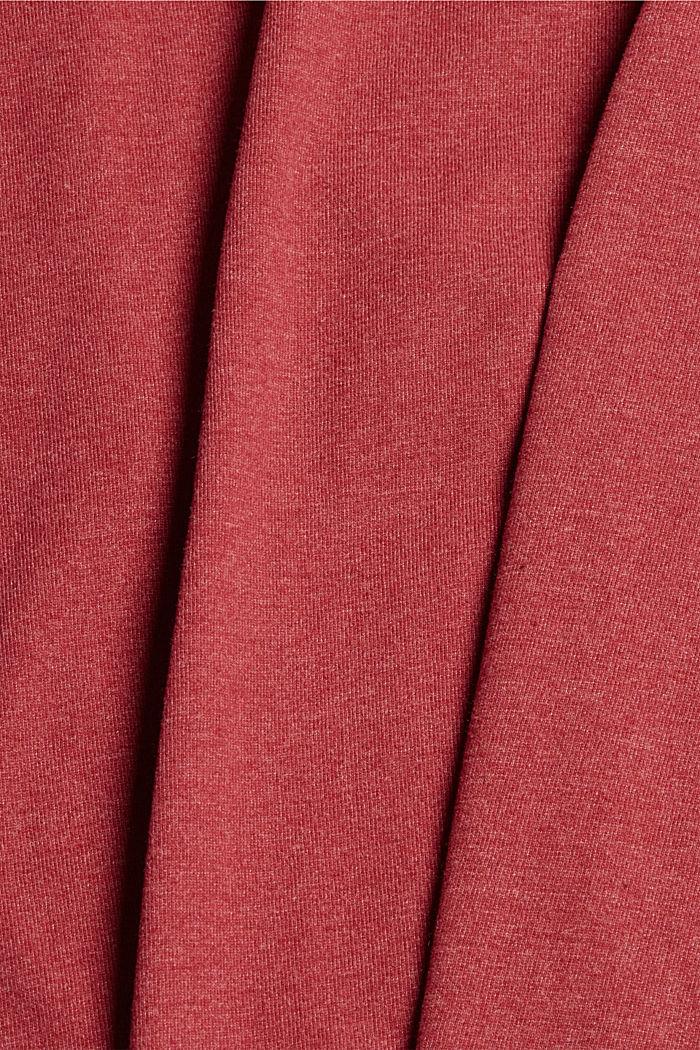 Bluzka z długim rękawem i okrągłym dekoltem z mieszanki bawełny ekologicznej, DARK RED, detail image number 4