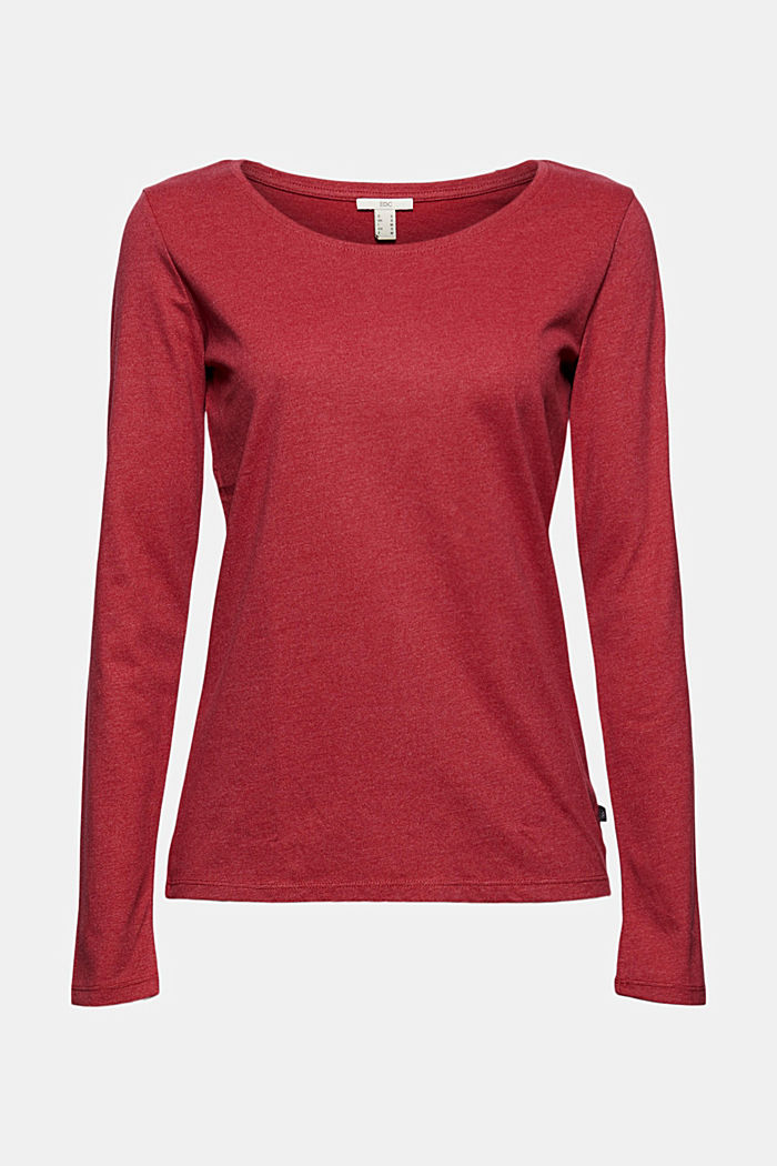 Crewneck long sleeve top made of blended organic cotton