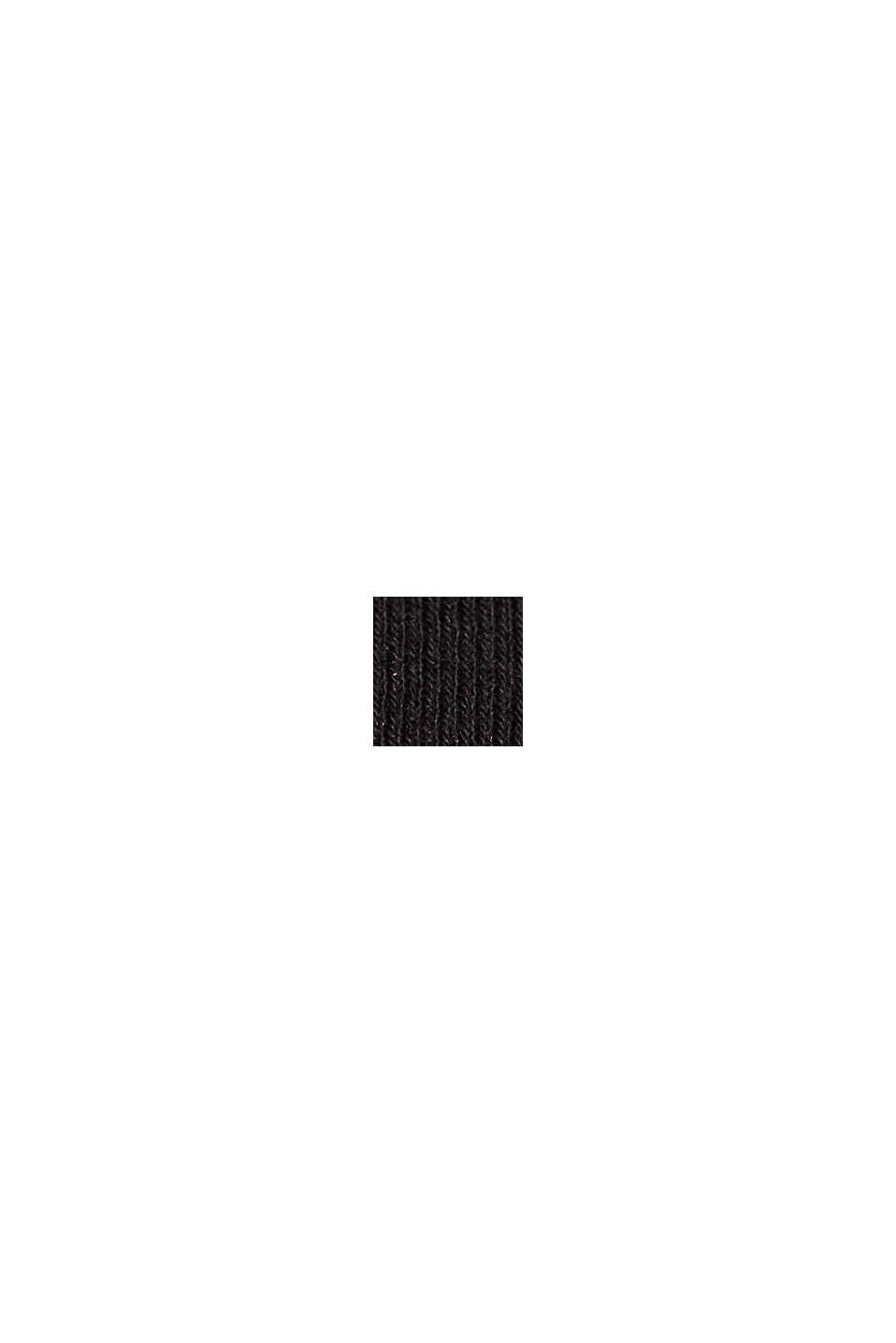 Langærmet top af økologisk bomuld med blonder, BLACK, swatch