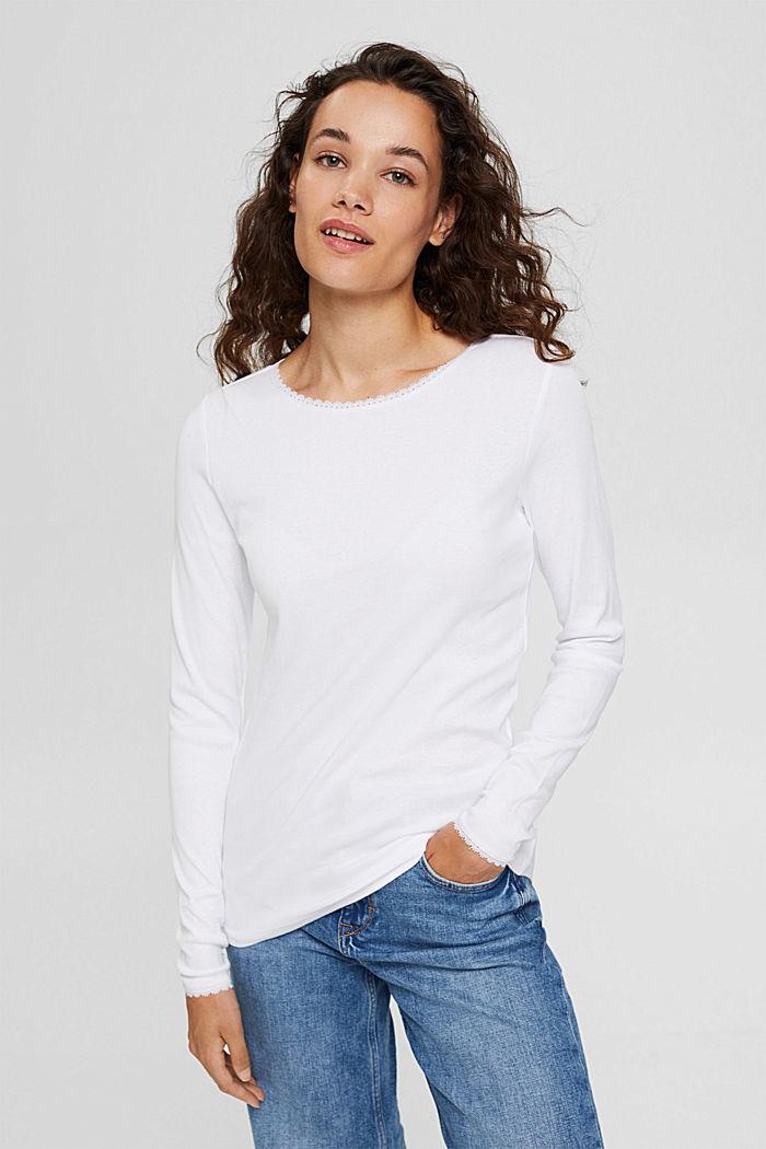 Bluzka z długim rękawem z bawełny ekologicznej z koronką, WHITE, detail image number 0