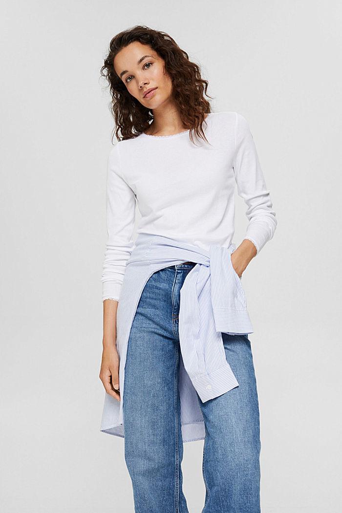 Bluzka z długim rękawem z bawełny ekologicznej z koronką, WHITE, detail image number 5