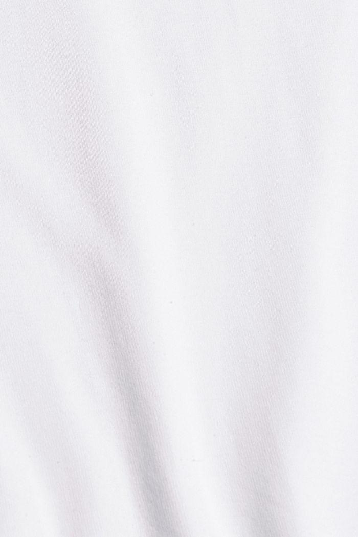 Bluzka z długim rękawem z bawełny ekologicznej z koronką, WHITE, detail image number 4
