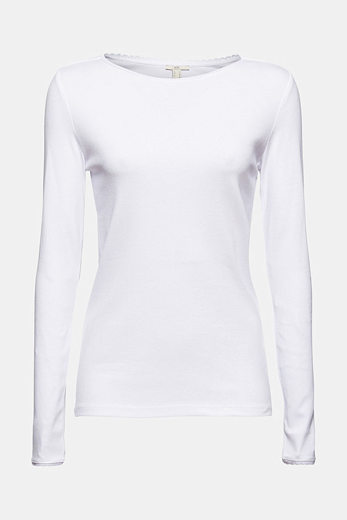 Bluzka z długim rękawem z bawełny ekologicznej z koronką, WHITE, detail image number 6
