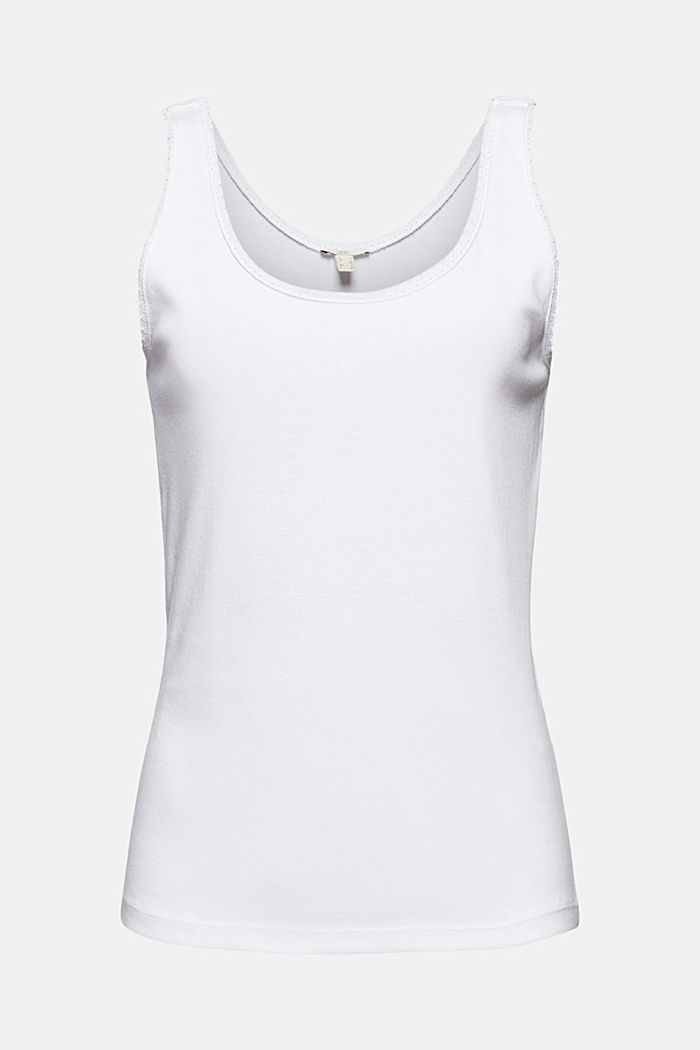 Sleeveless top with lace, organic cotton