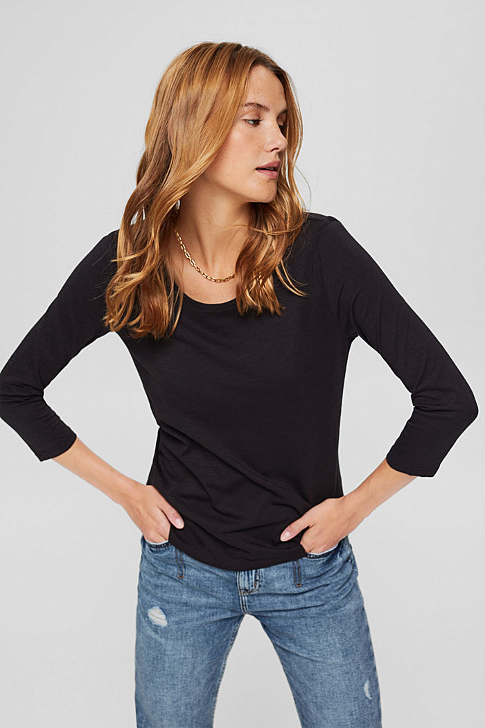 Long sleeve top made of 100% organic cotton, BLACK, detail image number 0