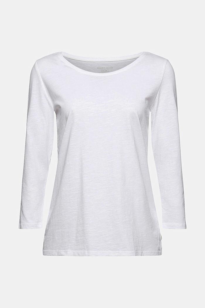 Maglia a maniche lunghe in 100% cotone biologico, WHITE, detail image number 6