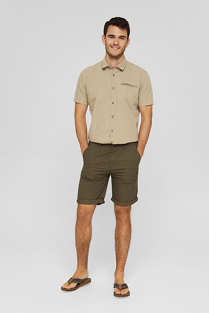 Shorts in organic cotton, DARK KHAKI, detail image number 1