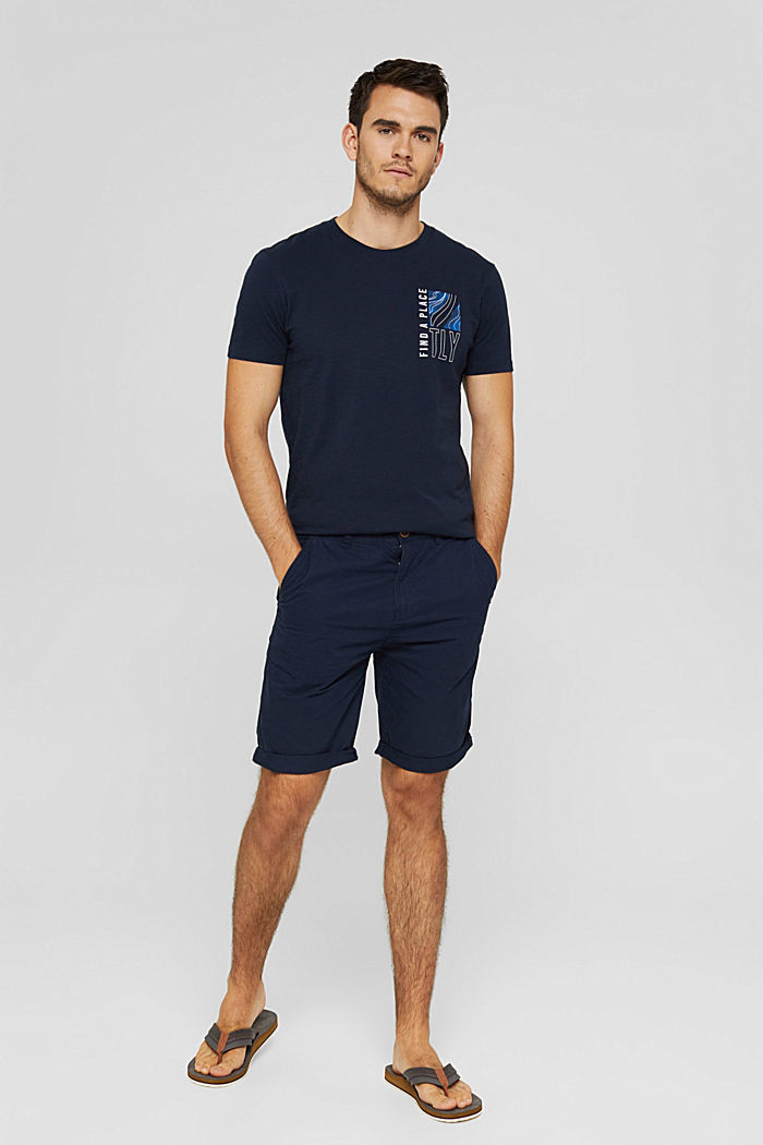 Shorts in cotone biologico, NAVY, detail image number 1