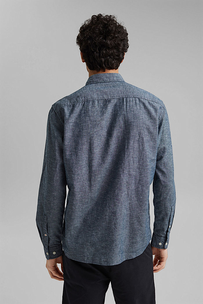 Linen/organic cotton: button-down shirt, NAVY, detail image number 3