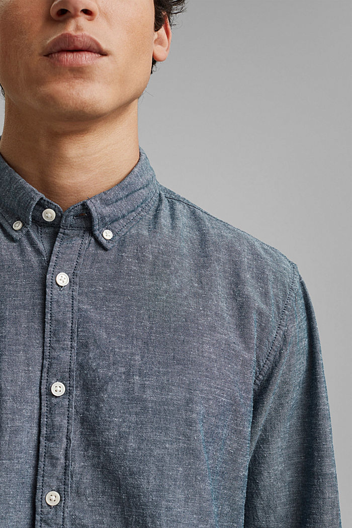 Linen/organic cotton: button-down shirt, NAVY, detail image number 2