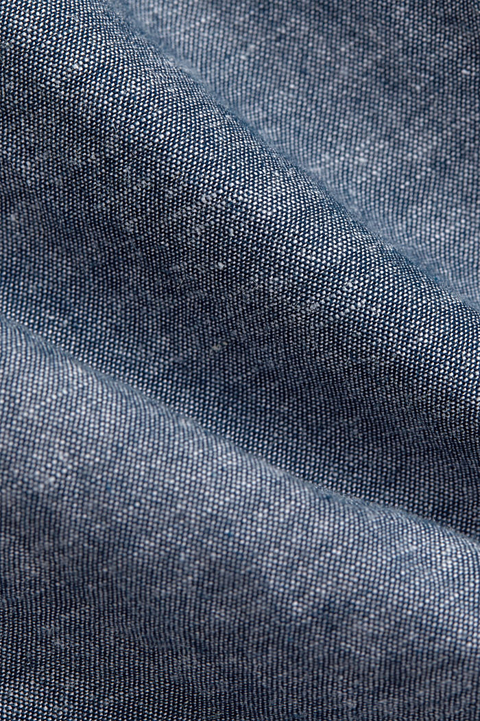 Linen/organic cotton: button-down shirt, NAVY, detail image number 4