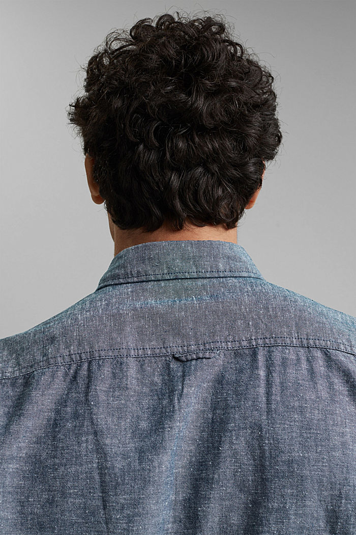 Linen/organic cotton: button-down shirt, NAVY, detail image number 5