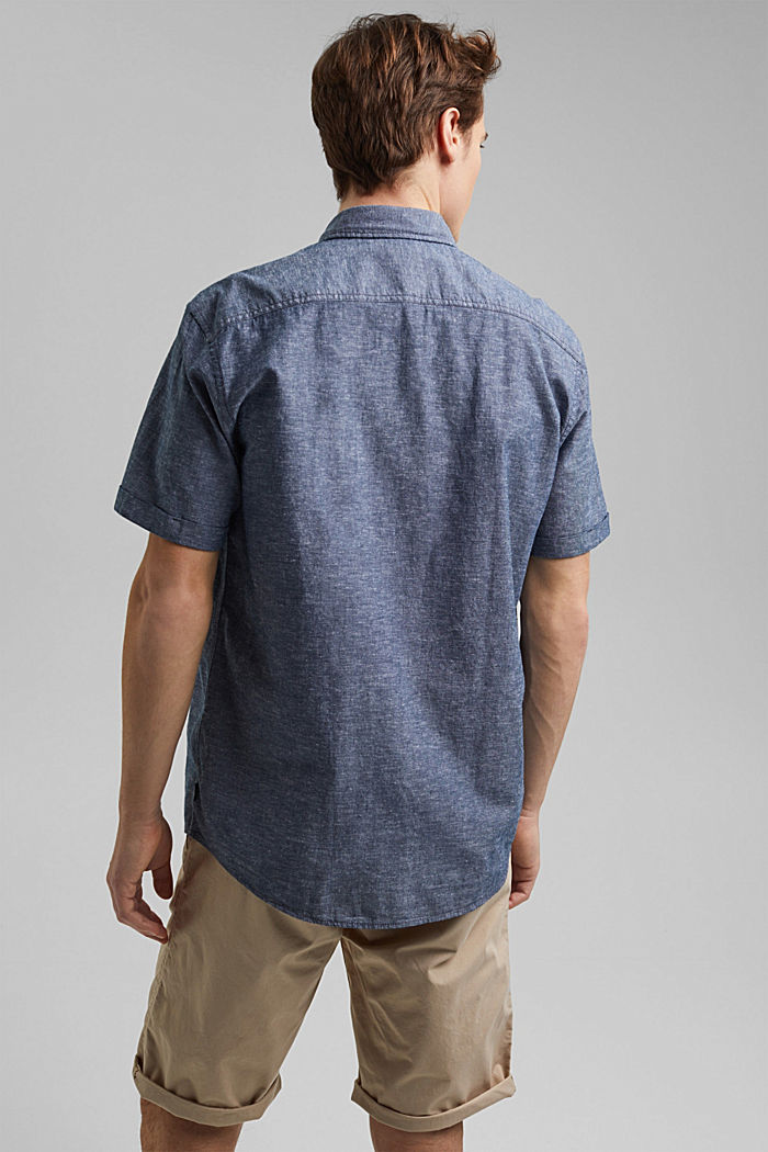 Linen/organic cotton: short-sleeved shirt, NAVY, detail image number 3