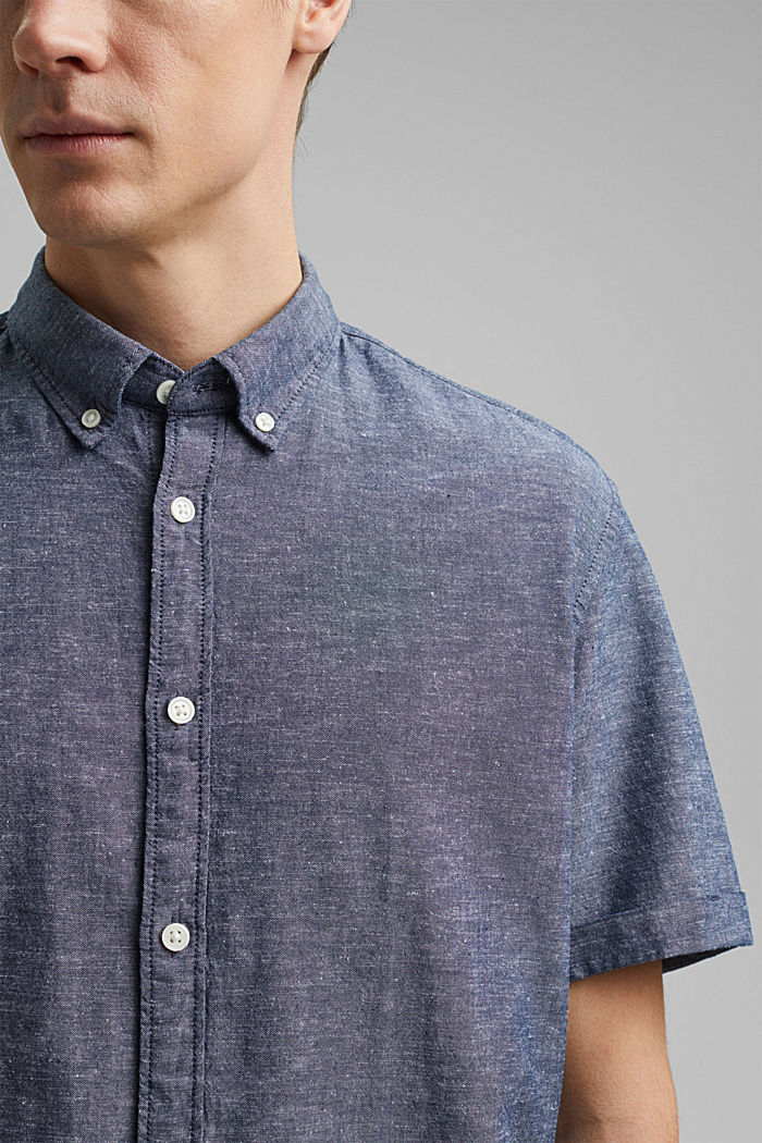 Linen/organic cotton: short-sleeved shirt, NAVY, detail image number 2