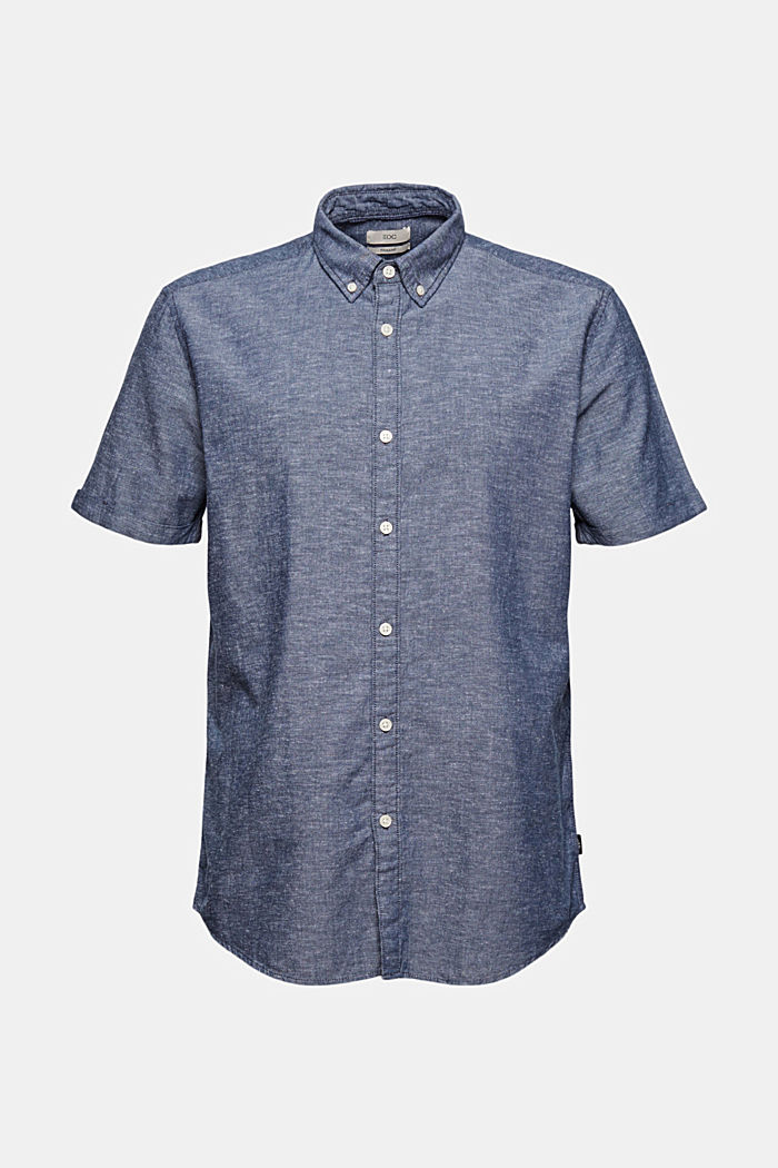 Linen/organic cotton: short-sleeved shirt, NAVY, detail image number 6