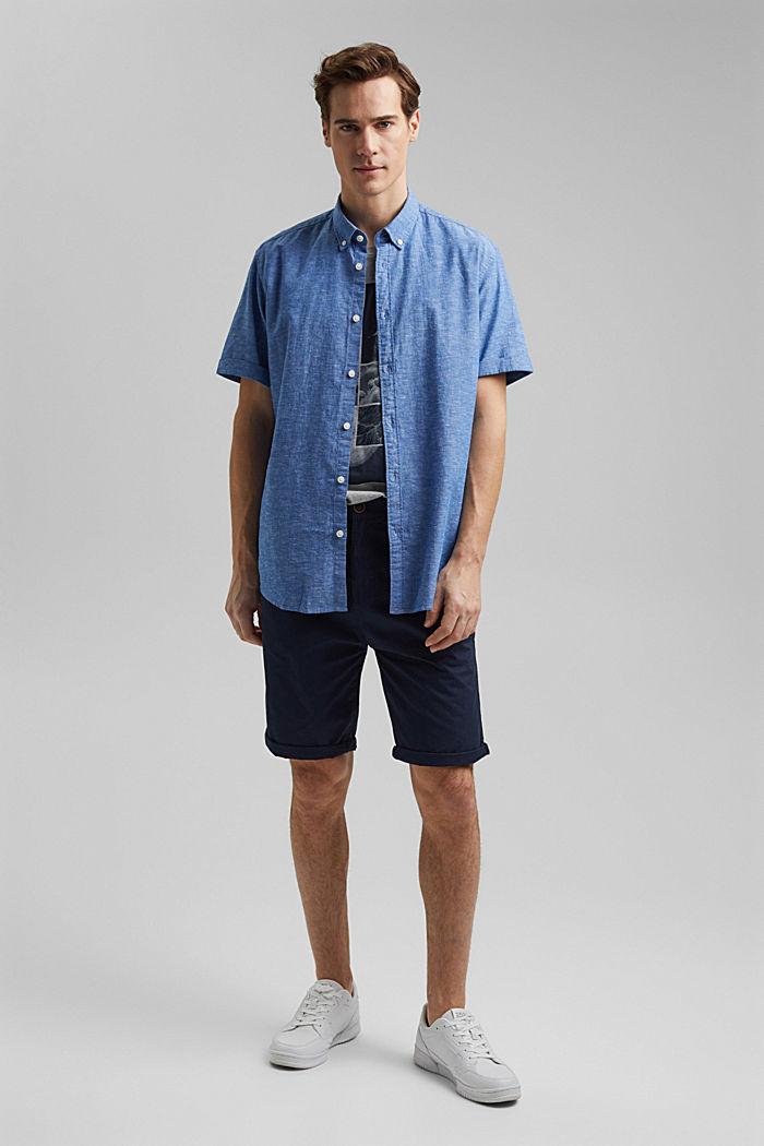 Leinen/Organic Cotton: Kurzarm-Hemd, LIGHT BLUE, detail image number 1