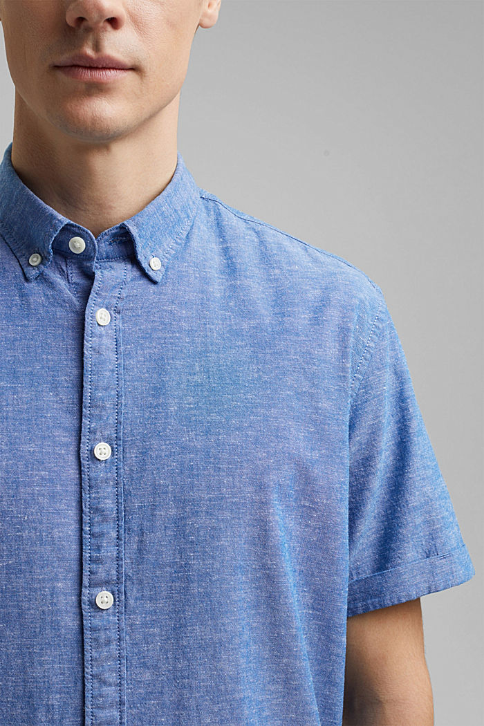 Leinen/Organic Cotton: Kurzarm-Hemd, LIGHT BLUE, detail image number 2