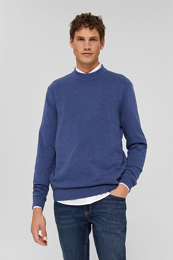 Pullover in 100% cotone biologico, GREY BLUE, detail image number 0