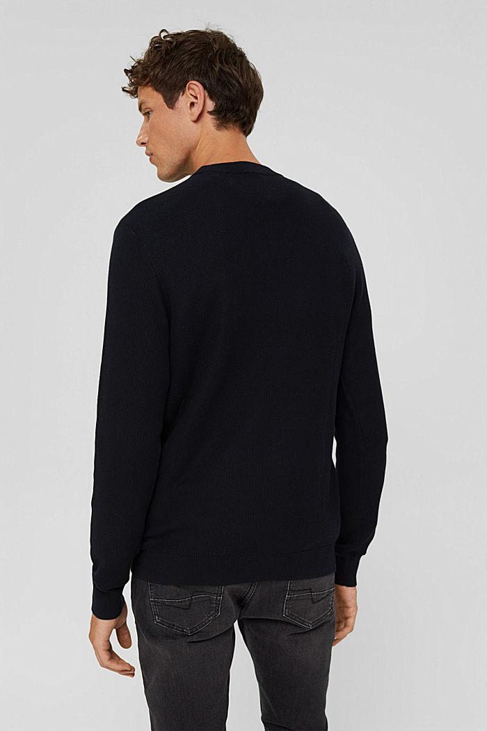 Pullover strutturato in 100% cotone biologico, BLACK, detail image number 3