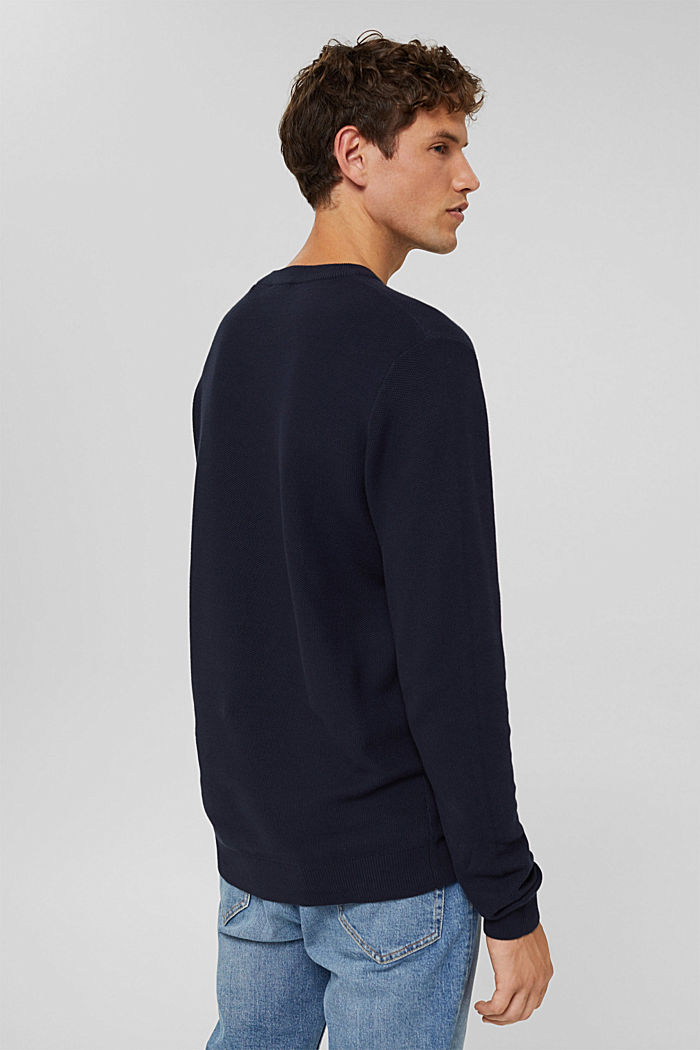 Pullover strutturato in 100% cotone biologico, NAVY, detail image number 3