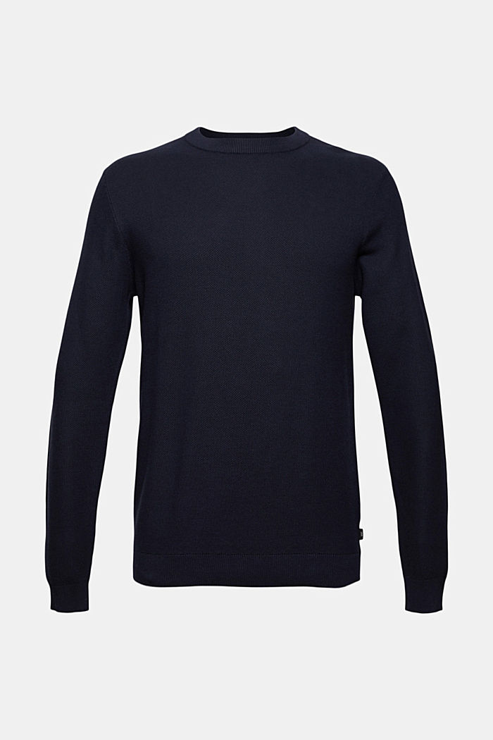Pullover strutturato in 100% cotone biologico, NAVY, detail image number 5