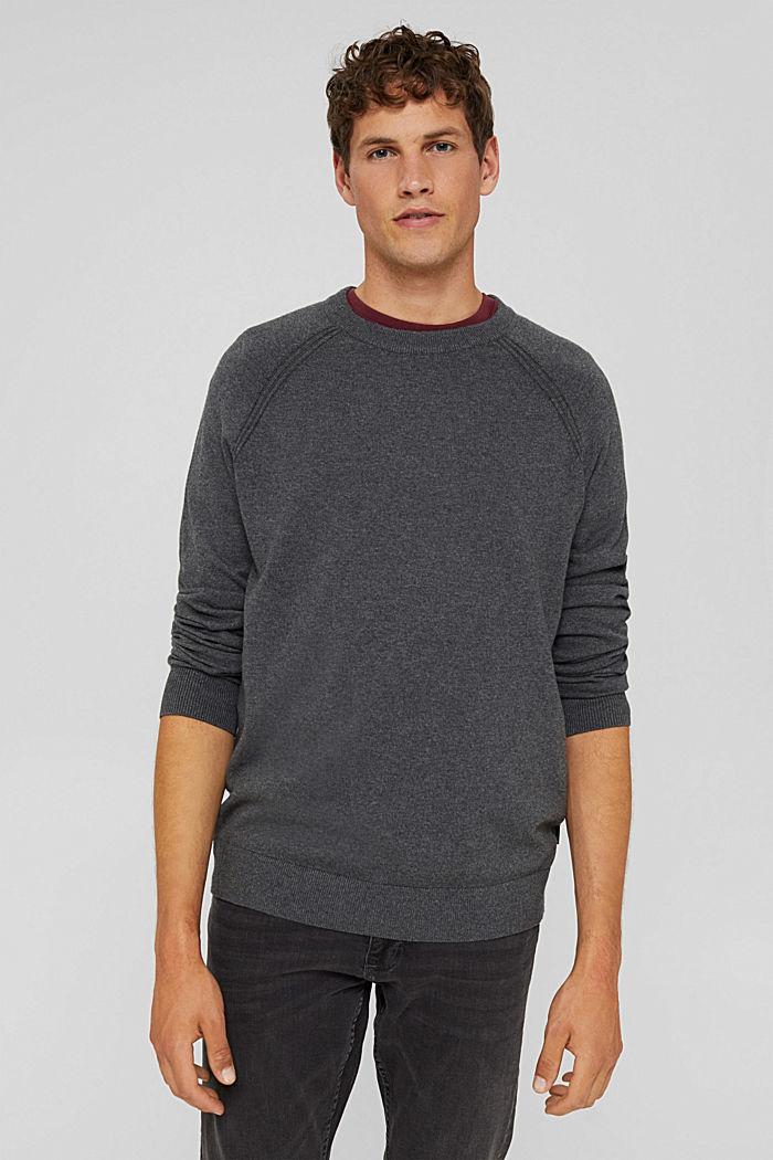 With cashmere: jumper with a round neckline, DARK GREY, detail image number 0