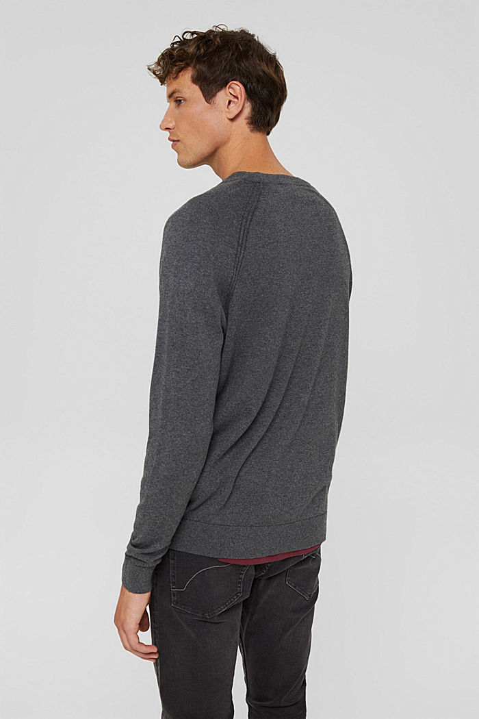 With cashmere: jumper with a round neckline, DARK GREY, detail image number 3