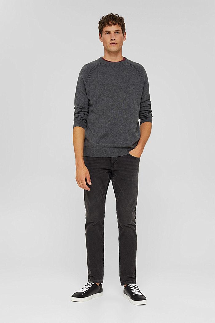 With cashmere: jumper with a round neckline, DARK GREY, detail image number 5