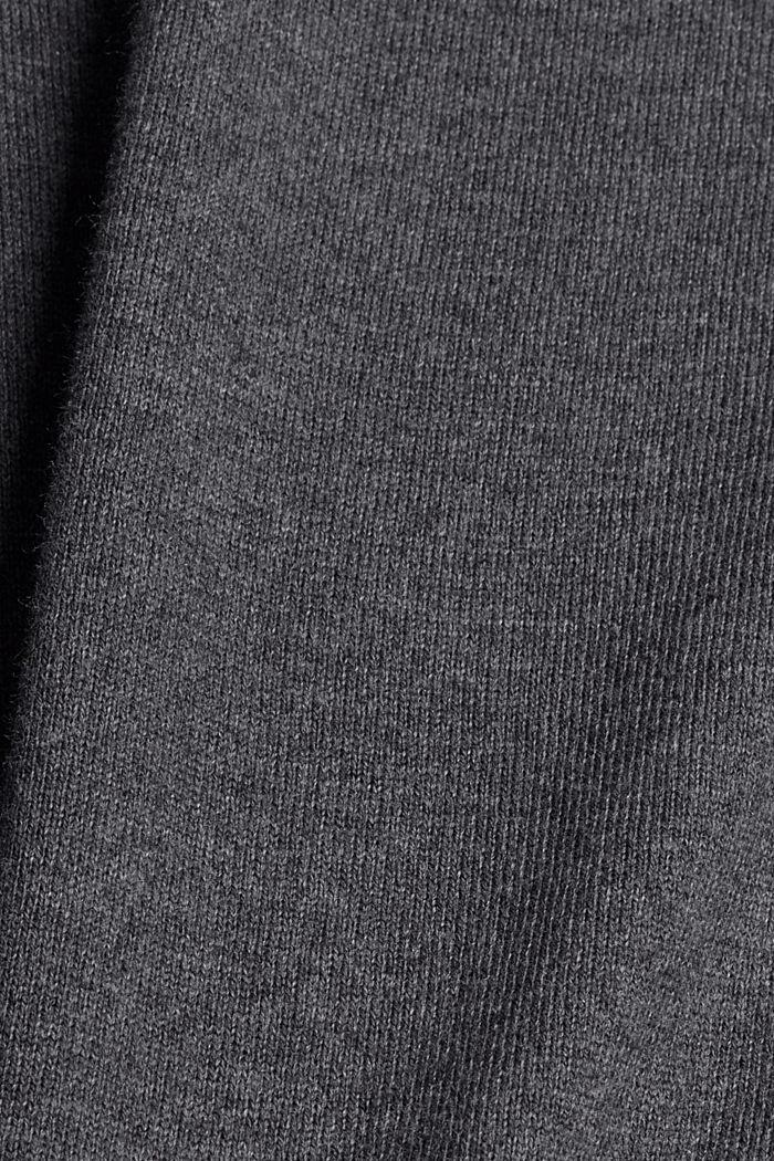 With cashmere: jumper with a round neckline, DARK GREY, detail image number 4