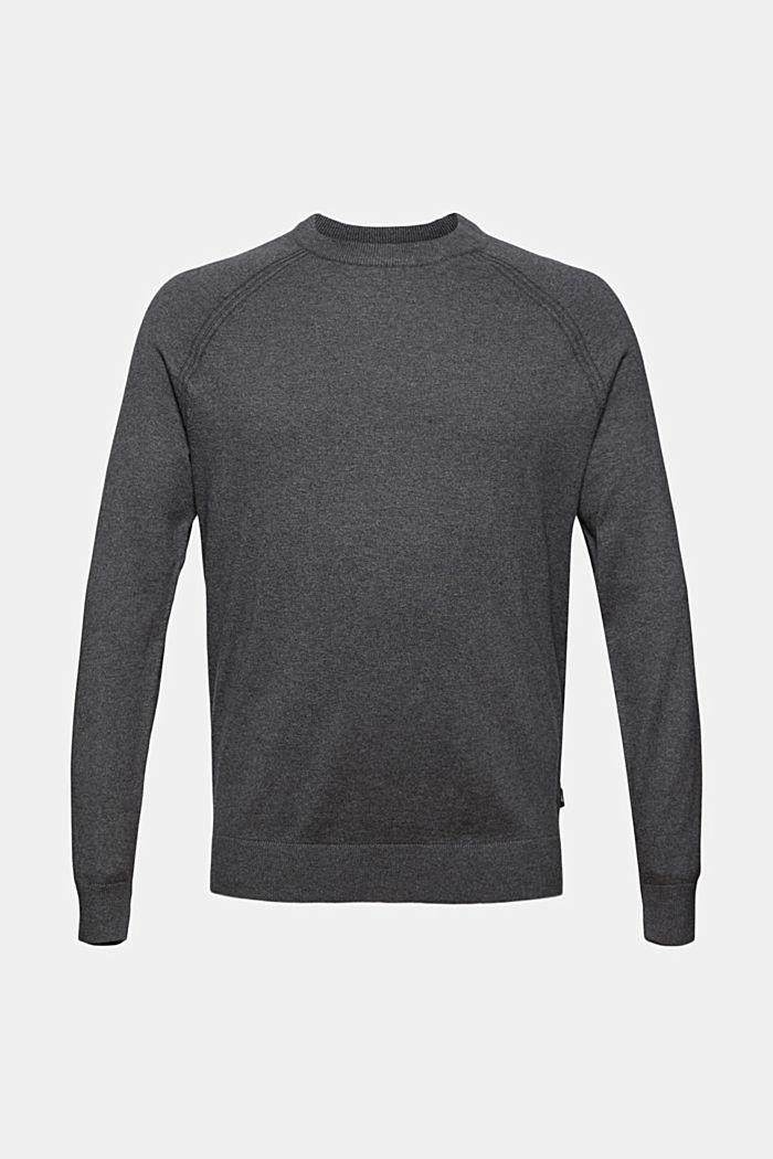 With cashmere: jumper with a round neckline, DARK GREY, detail image number 6