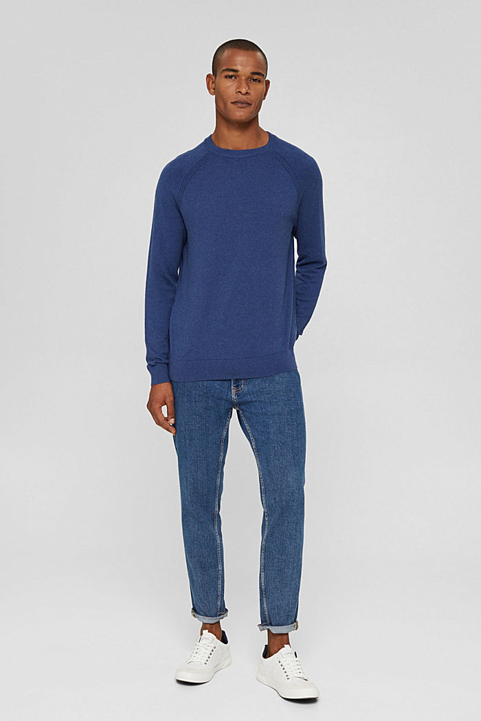 With cashmere: jumper with a round neckline, GREY BLUE, detail image number 1