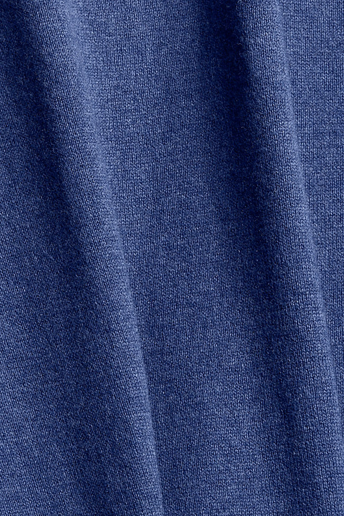 With cashmere: jumper with a round neckline, GREY BLUE, detail image number 4