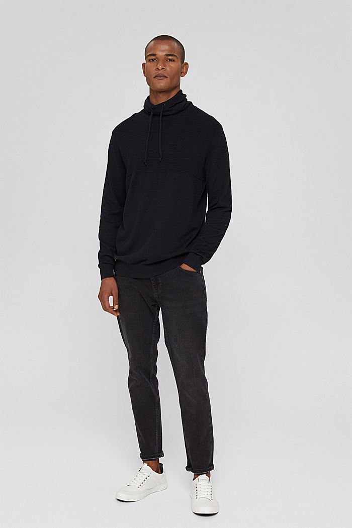 Sisältää kašmiria: neulepusero, jossa kiristysnauhakaulus, BLACK, detail image number 1