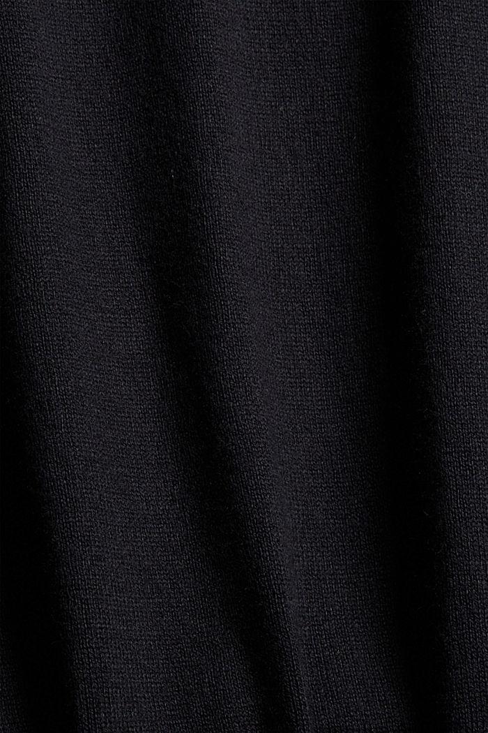 Sisältää kašmiria: neulepusero, jossa kiristysnauhakaulus, BLACK, detail image number 4