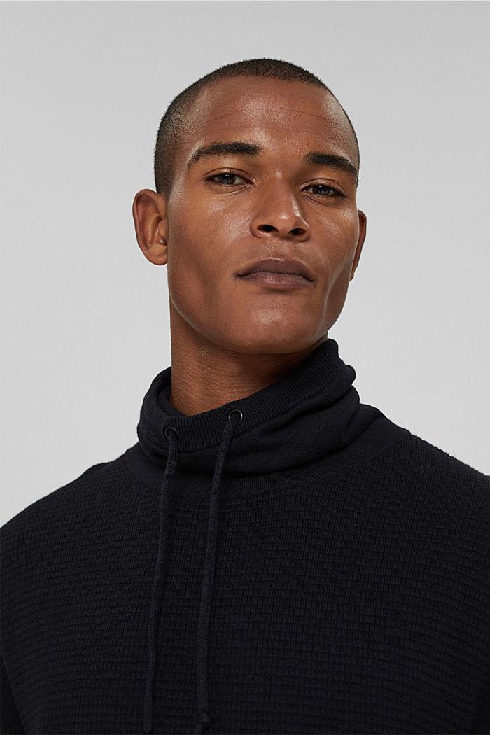 Sisältää kašmiria: neulepusero, jossa kiristysnauhakaulus, BLACK, detail image number 5