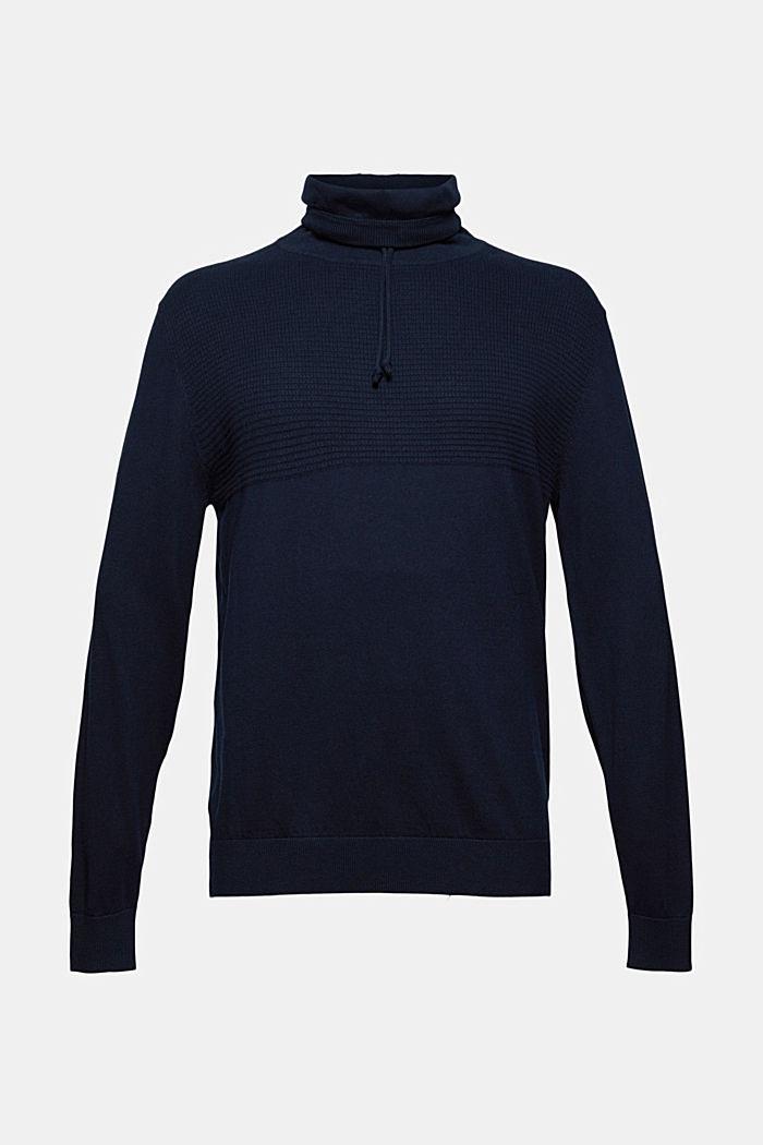 Con cashmere: pullover con colletto con coulisse
