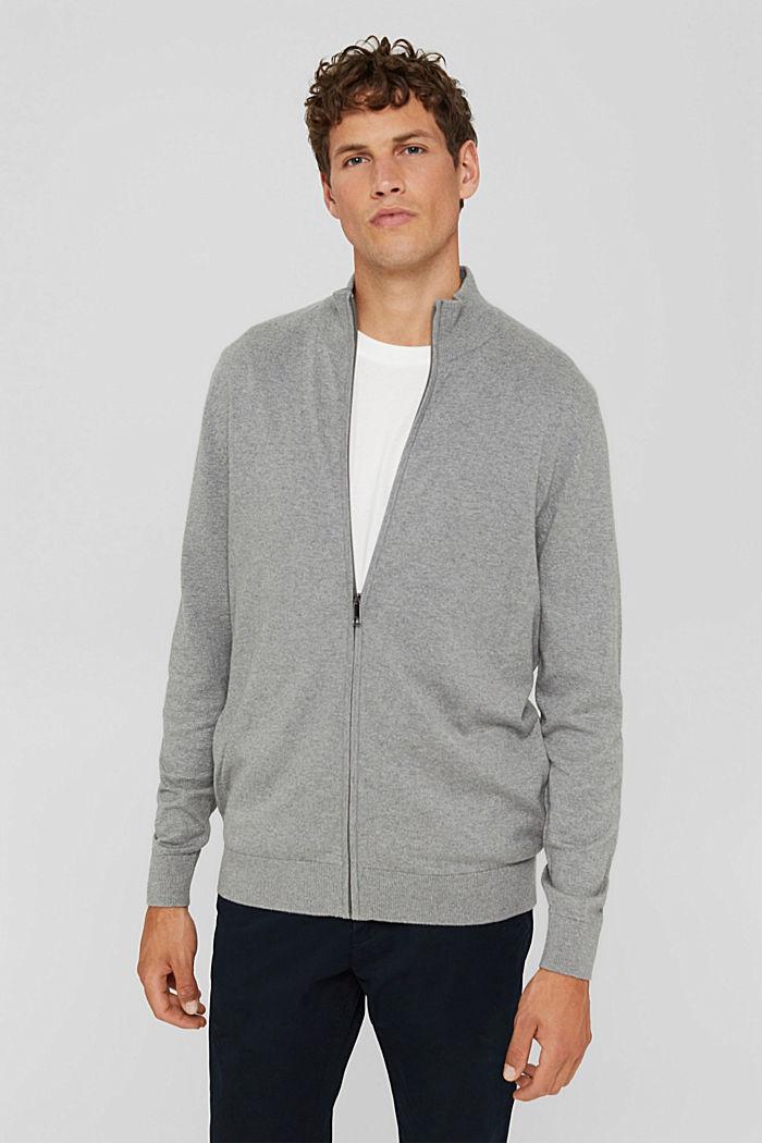 Cashmere blend:  zip cardigan, MEDIUM GREY, detail image number 0