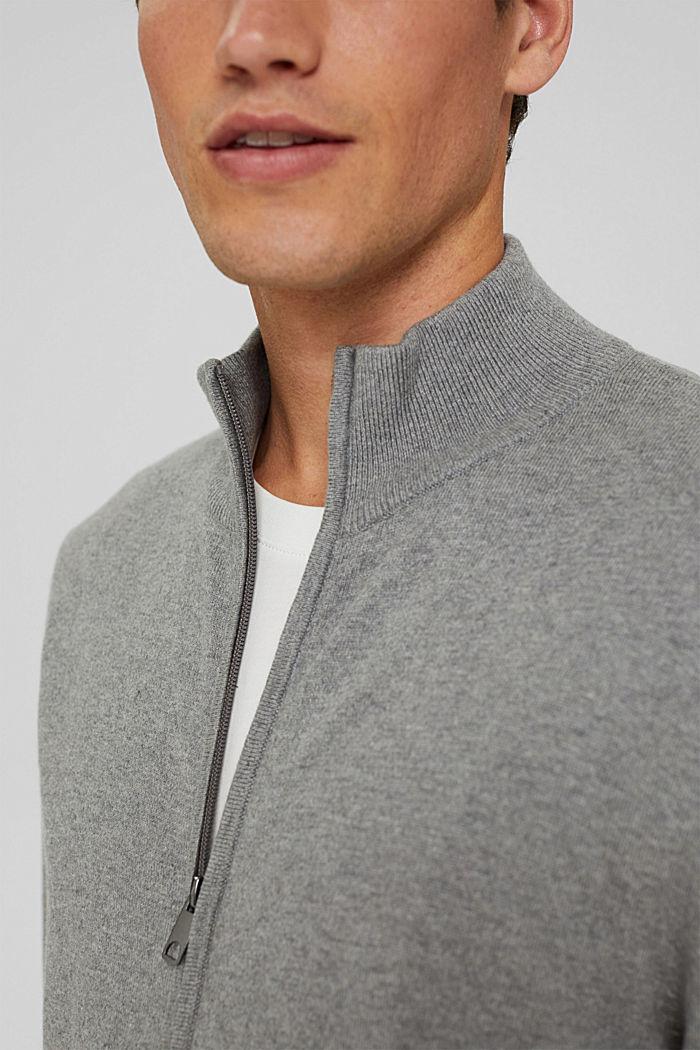 Cashmere blend:  zip cardigan, MEDIUM GREY, detail image number 2
