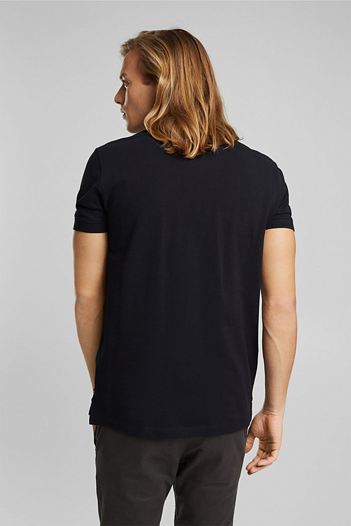 Piqué polo shirt in 100% organic cotton, BLACK, detail image number 3