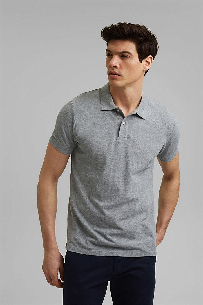Piqué polo shirt in 100% organic cotton, MEDIUM GREY, detail image number 0